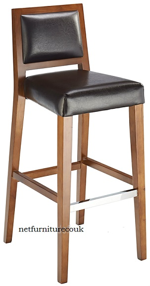 Thedas Wooden Fixed Bar Stool with Padded Seat