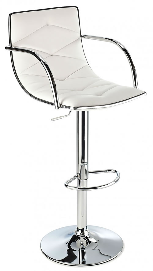 Berkley Quality Kitchen Bar Stool- White With Arms
