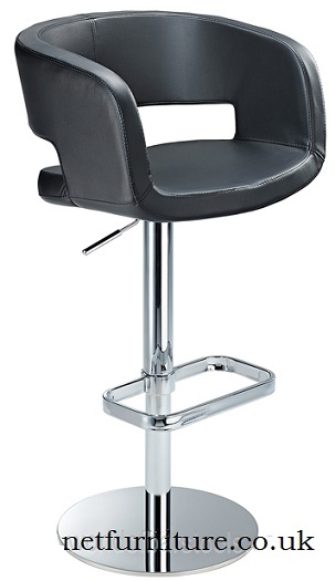 Appius Height Adjustable Bar Stool with faux leather bucket seat and armrest