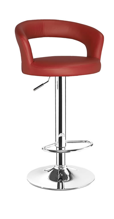 Classony Red Kitchen Breakfast Bar Stool Height Adjustable Padded Seat and Back