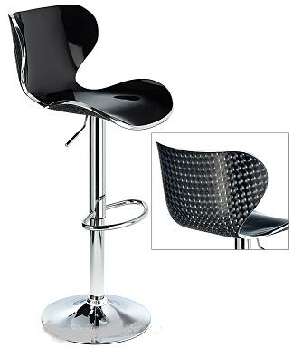 Vercelli Acrylic Adjustable Bar Stool With Black Swivel Seat