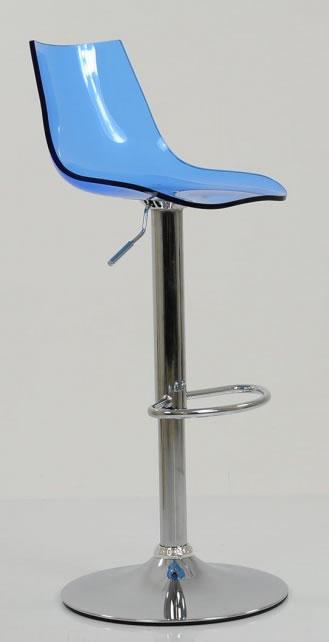 Haley Blue Acrylic Perspex Kitchen Breakfast Bar Stool Height Adjustable
