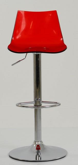 Haley Red Acrylic Perspex Kitchen Breakfast Bar Stool Height Adjustable