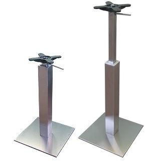 Confort Height Adjustable Gas Lift Table Base - Brushed Steel Base and Frame