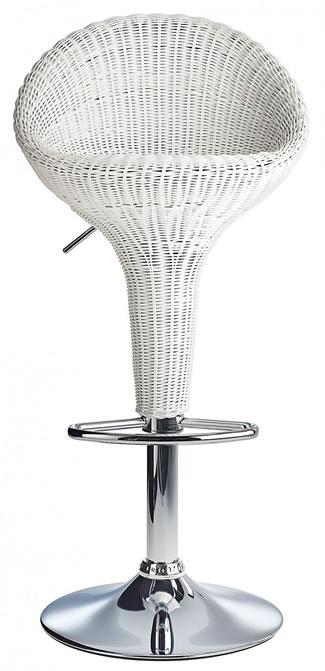 Blazone White Rattan Style Modern Kitchen Bar Stool Height Adjustable