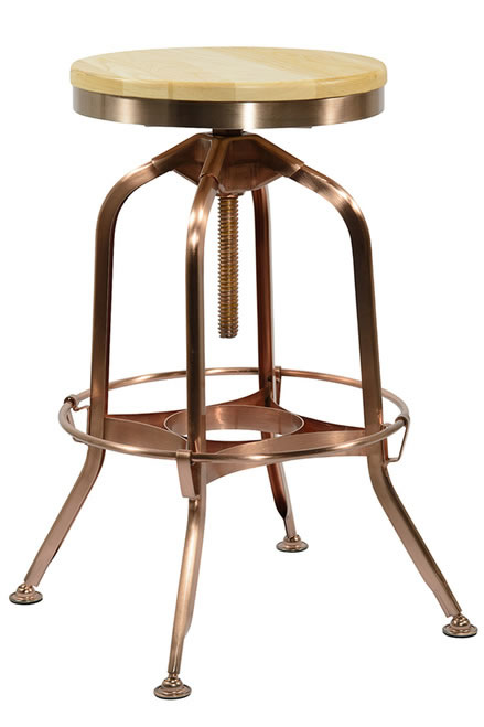 Busora Copper Frame Kitchen Breakfast Bar Swivel Stool Height Adjustable Industrial Style