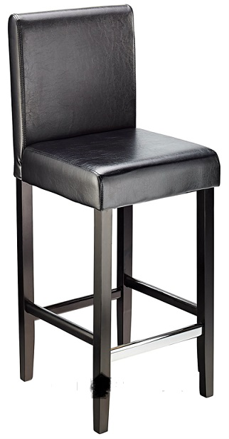 Diego Fixed Height, Faux Leather,  Padded Bar Stool - Black