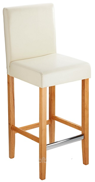 Diego Fixed Height, Faux Leather,  Padded Bar Stool - Cream