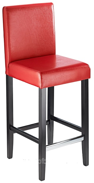 Diego Fixed Height, Faux Leather,  Padded Bar Stool - Red
