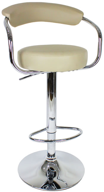 Berty Cream Bar Stool Cushioned Padded seat and Back Height Adjustable