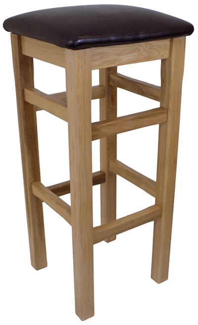 Crafty Solid Oak High Bar Stool - Padded Seat Faux Leather Fully Assembled