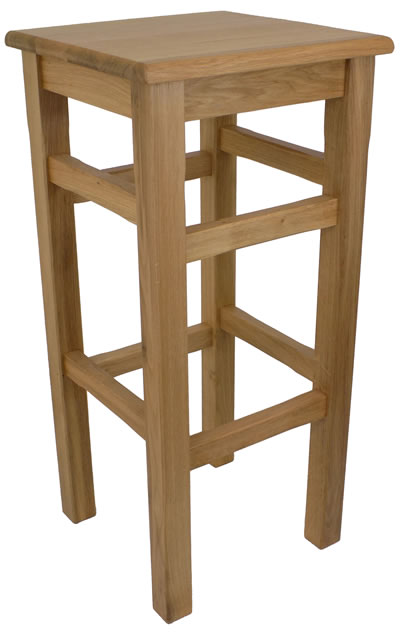 Crafty Solid Oak High Kitchen Bar Stool Fully Assembled