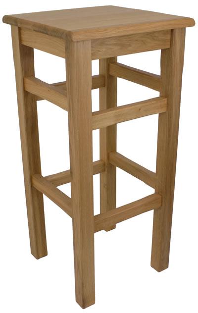 Crafty Solid Oak High Kitchen Bar Stool Fully Assembled