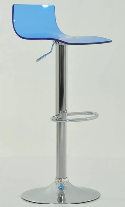 Marquis Blue Acrylic Perspex Seat Kitchen Bar Stool Height Adjustable Chrome Frame