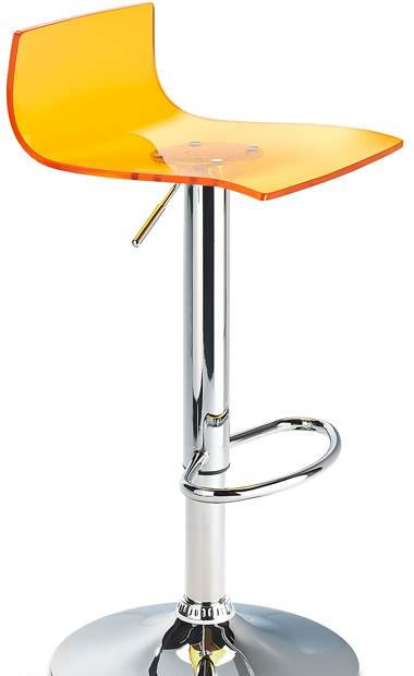 Marquis Orange Acrylic Perspex Seat Kitchen Bar Stool Height Adjustable Chrome Frame