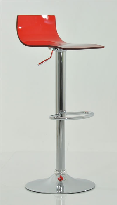 Marquis Red Acrylic Perspex Seat Kitchen Bar Stool Height Adjustable Chrome Frame