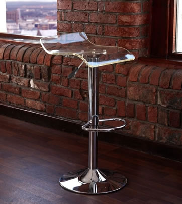CT3 Translucent Clear Perspex Kitchen Bar Stools Brushed Frame