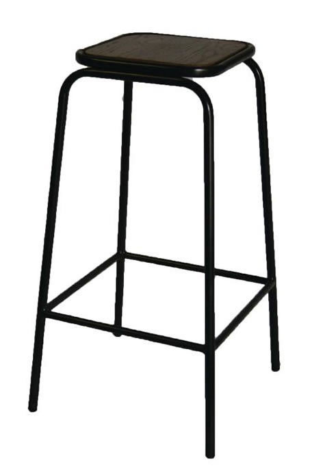 Cube kitchen bar stool black padded seat chrome frame