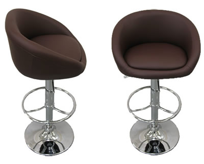 2 x brown faux leather cup breakfast kitchen bar stools