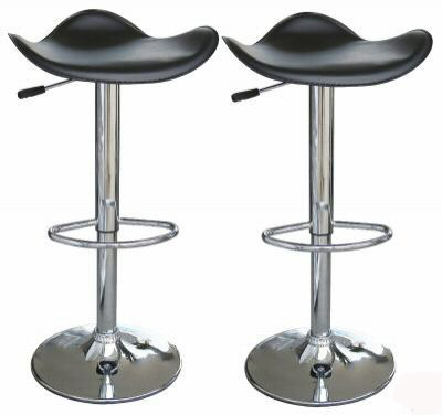 2 Curvy faux leather black breakfast kitchen bar stools