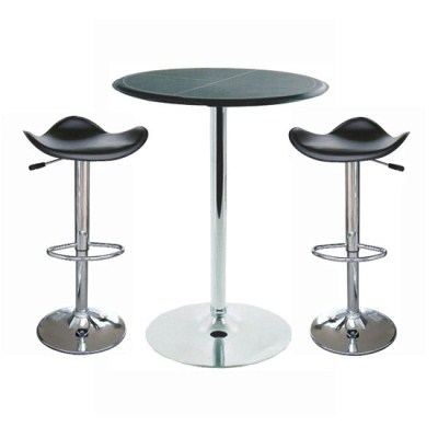 Dall Round Chrome and Wooden Top Bar Table with 2 Stools