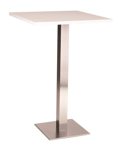 Daniella Stainless Steel Small Poseur Table with Tops in Various Finishes and Sizes
