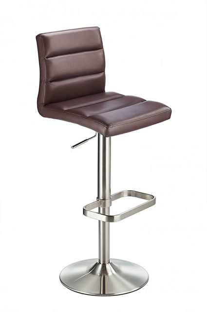 Swank Brushed Steel Kitchen Swivel Bar Stool With Faux Leather Padded Seat - Brown