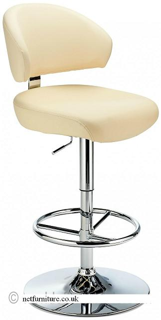 Monarch Bar Stool - Padded Faux Leather with Adjustable Swivel Seat - Cream