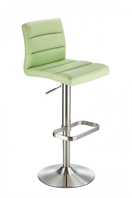 Swank Brushed Steel Kitchen Swivel Bar Stool With Faux Leather Padded Seat - Green