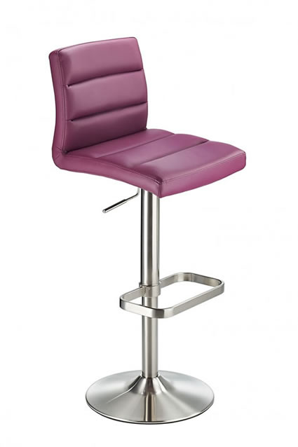 Swank Brushed Steel Kitchen Swivel Bar Stool With Faux Leather Padded Seat - Purple
