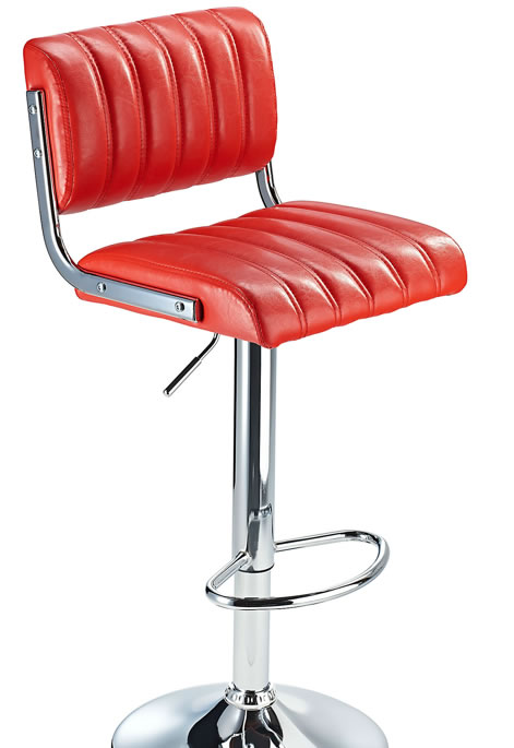 Chicago Red Retro Bar Stool with Adjustable Height Soft Padded Seat Back Rest
