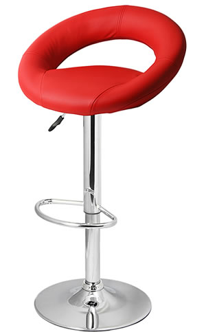 Star Kitchen Breakfast Bar Stool Padded Red Seat Height Adjustable Chrome Frame Back Rest