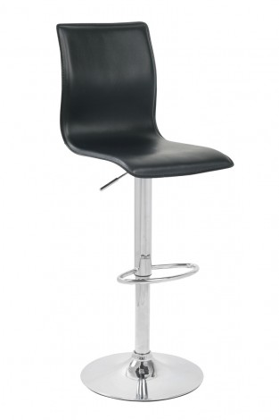 Wasonony bar stool high back adjustable faux leather black seat