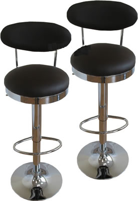 Retoze Retro 2 x high back choco brown breakfast kitchen bar stools