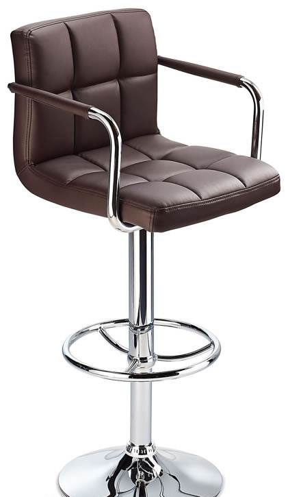 Pasing  Kitchen Brown Bar Stools With Arms And Back Height Adjustable