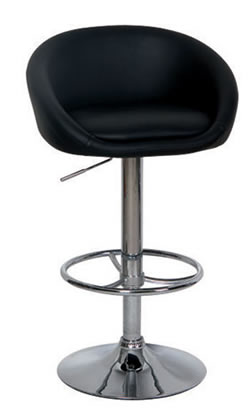 2 x black faux leather cup breakfast kitchen bar stool