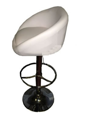 Cuppie  white faux leather cup breakfast kitchen bar stools height adjustable padded seat