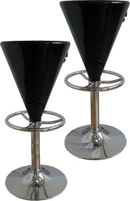 2 x  black club breakfast adjustable kitchen bar stools
