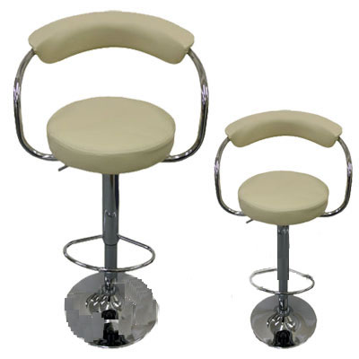 2 x cream faux leather thin backrest breakfast kitchen bar stools