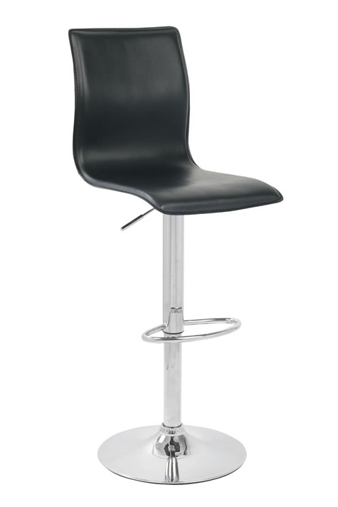 Ellan Swivel Bar Stool Faux Leather Cushioned Seat - Black