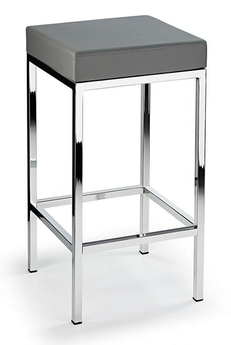 Ernest Kitchen Bar Stool Grey Padded Seat Chrome Frame Cube Shape Fixed Height