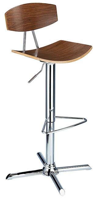 Crete Adjustable Bar Stool with walnut wood seat