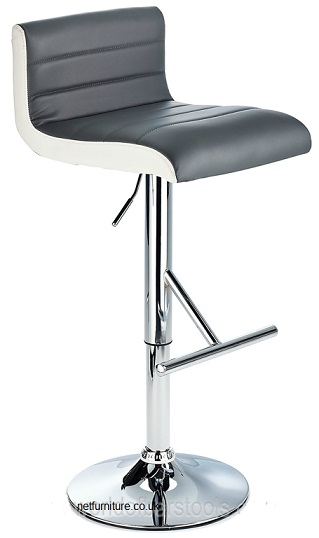 Terfa Breakfast Bar Stool - Black Seat and Contrasting Side Panels, Height Adjustable