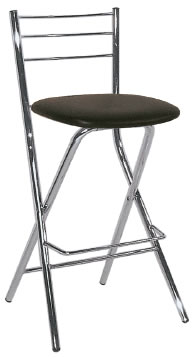 falcon chrome kitchen breakfast bar folding stool black padded seat with back