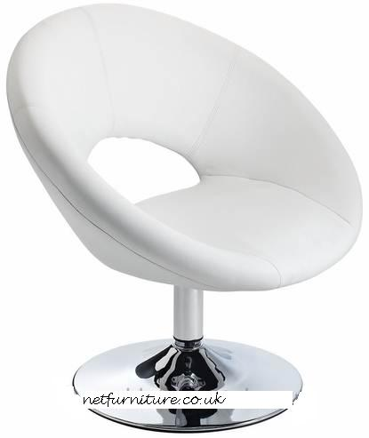 Pharoh Funky Chair - White, Padded Swivel Seat, with Unique Design