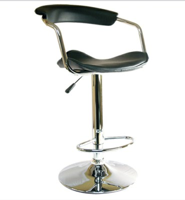 Gia Faux Leather and Chrome Black Stool with Back - Adjustable and Swivel