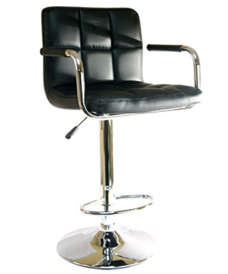 Eddie Faux Leather and Chrome Stool - Adjustable and Swivel with Back