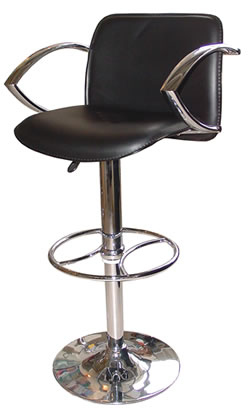 Paris Swivel Bar Stool, Black or Red Seat and Padded Back, Chrome Arm Rests