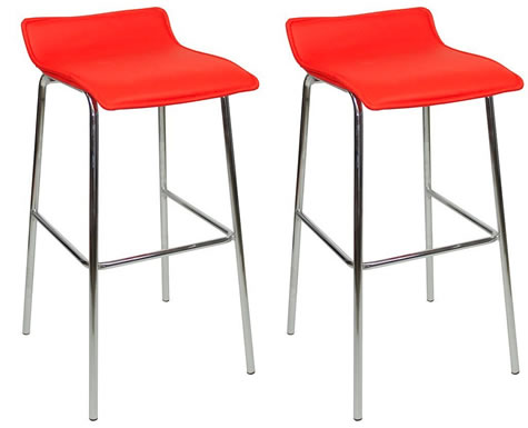 Pair Wacony Chrome And Padded Kitchen Breakfast Bar Stools Fixed Height Various   Colours 4 Leg Frame