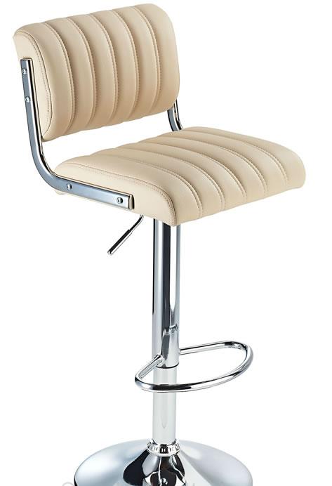Horlsomy White Retro Bar Stool with Adjustable Height Soft Padded Seat Back Rest